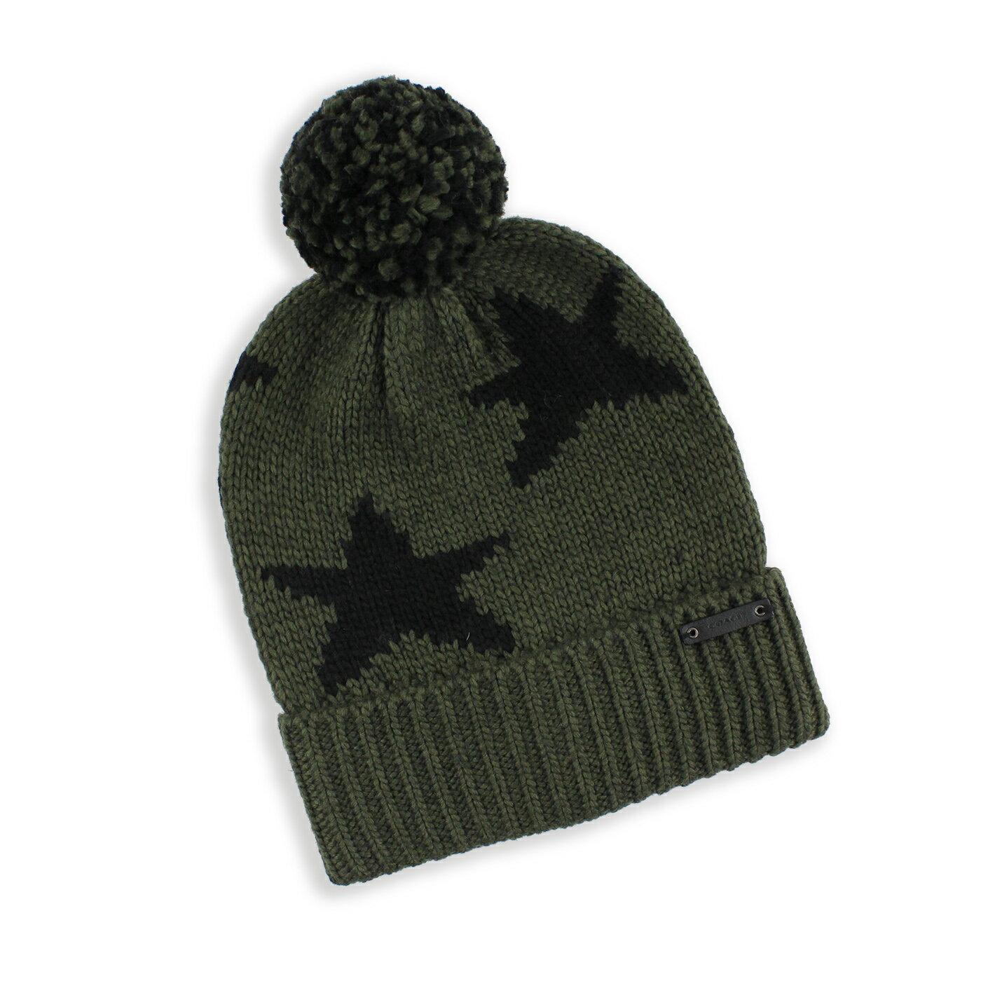 美國百分百【全新真品】COACH 毛帽 針織帽 帽子 配件 毛線帽 86023 保暖 羊毛 星星 男 軍綠色 G091