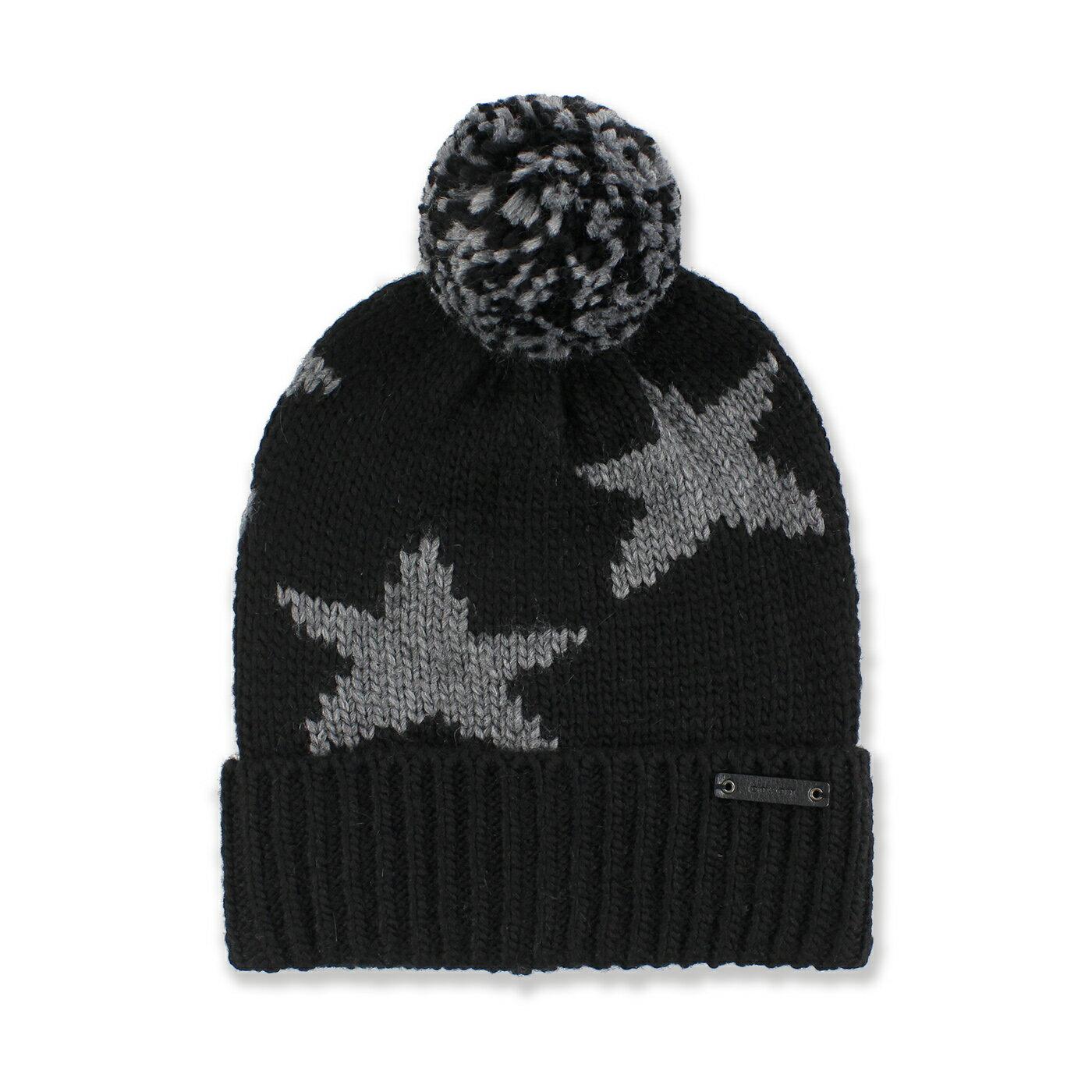 美國百分百【全新真品】COACH 毛帽 針織帽 帽子 配件 毛線帽 86023 保暖 羊毛 星星 男 黑色 G091