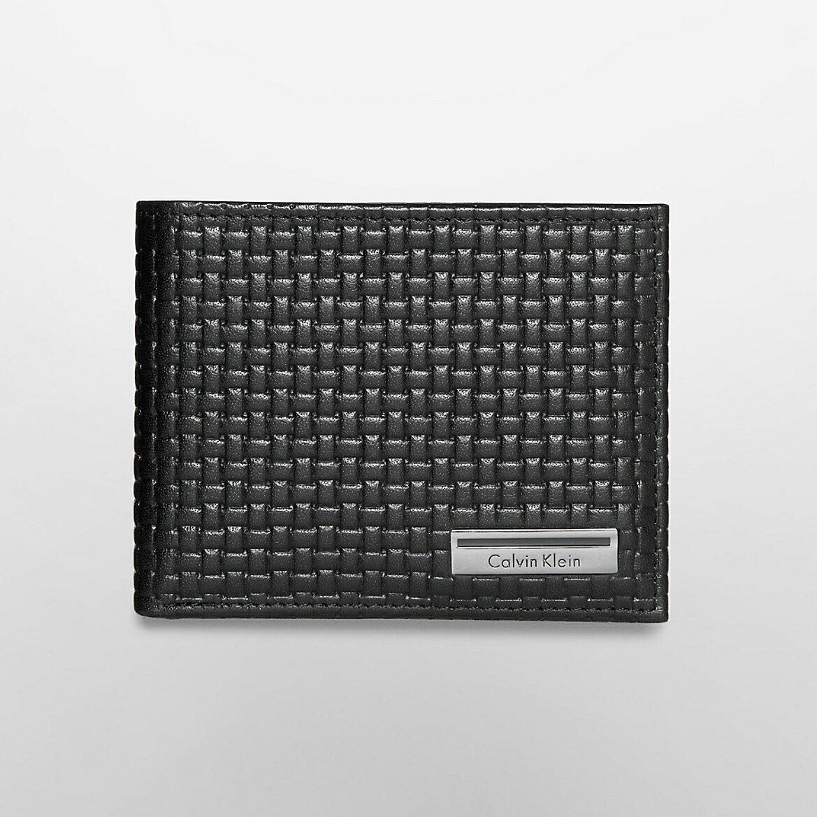 美國百分百【全新真品】Calvin Klein 皮夾 CK 短夾 真皮 二折 皮革 質感 鈔票 編織 男 黑色 G098