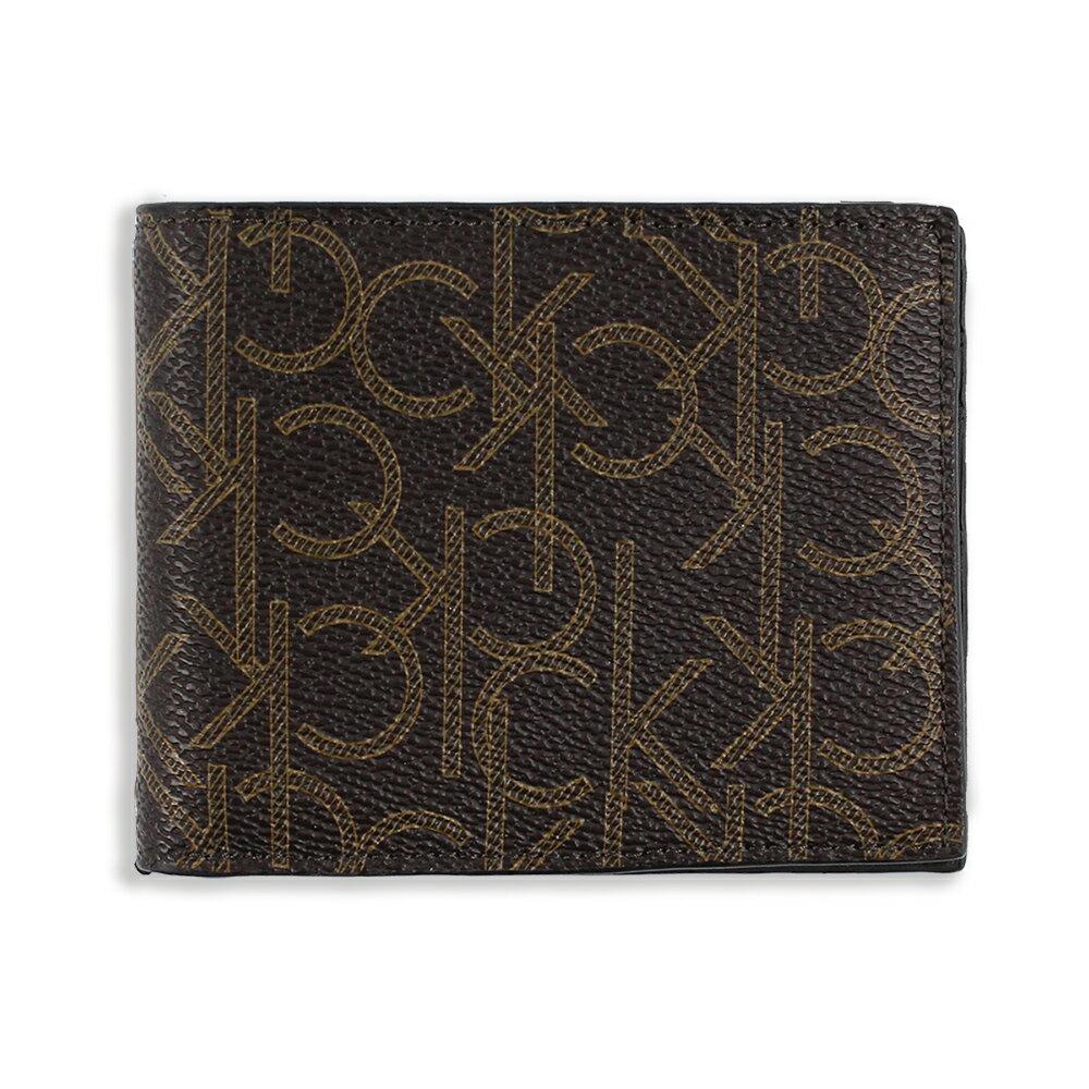 美國百分百【全新真品】Calvin Klein 皮夾 CK 短夾 真皮 二折 皮革 logo 鈔票 男 咖啡色 G101