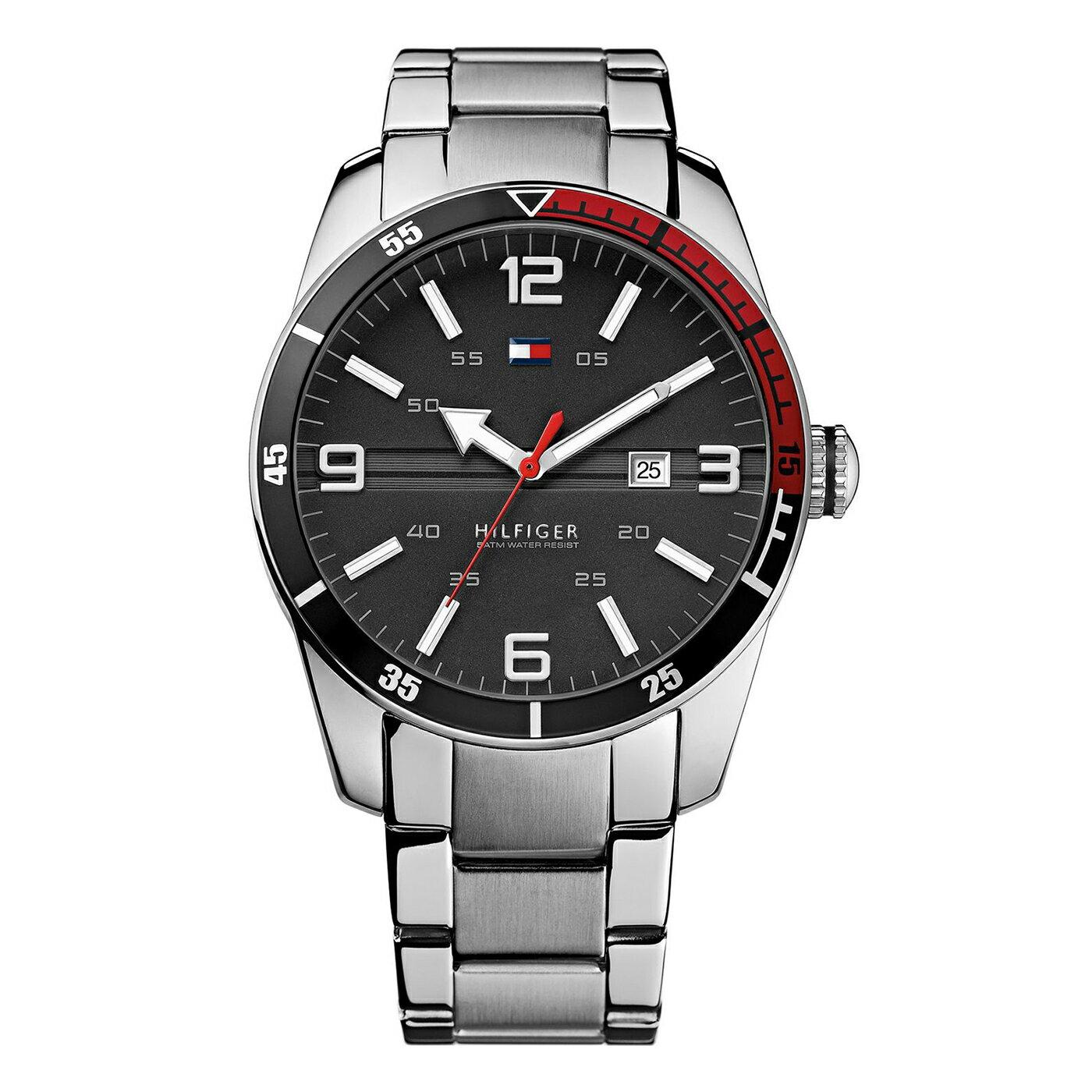 美國百分百【全新真品】Tommy Hilfiger 手錶 TH 配件 不 鋼 金屬錶帶 石英 日期 計時 銀色 G106