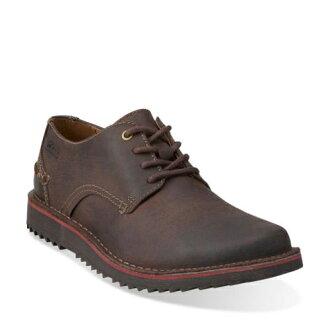 美國百分百【Clarks】Remsen Limit 皮鞋 休閒 鞋子 沙漠靴 牛皮 英倫 男 深咖啡 8.5號 G111
