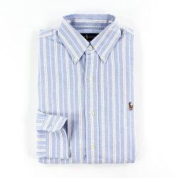 美國百分百【Ralph Lauren】牛津 襯衫 RL POLO 彩馬 條紋 長袖 上衣 粉藍 粉紅 XS號 G122