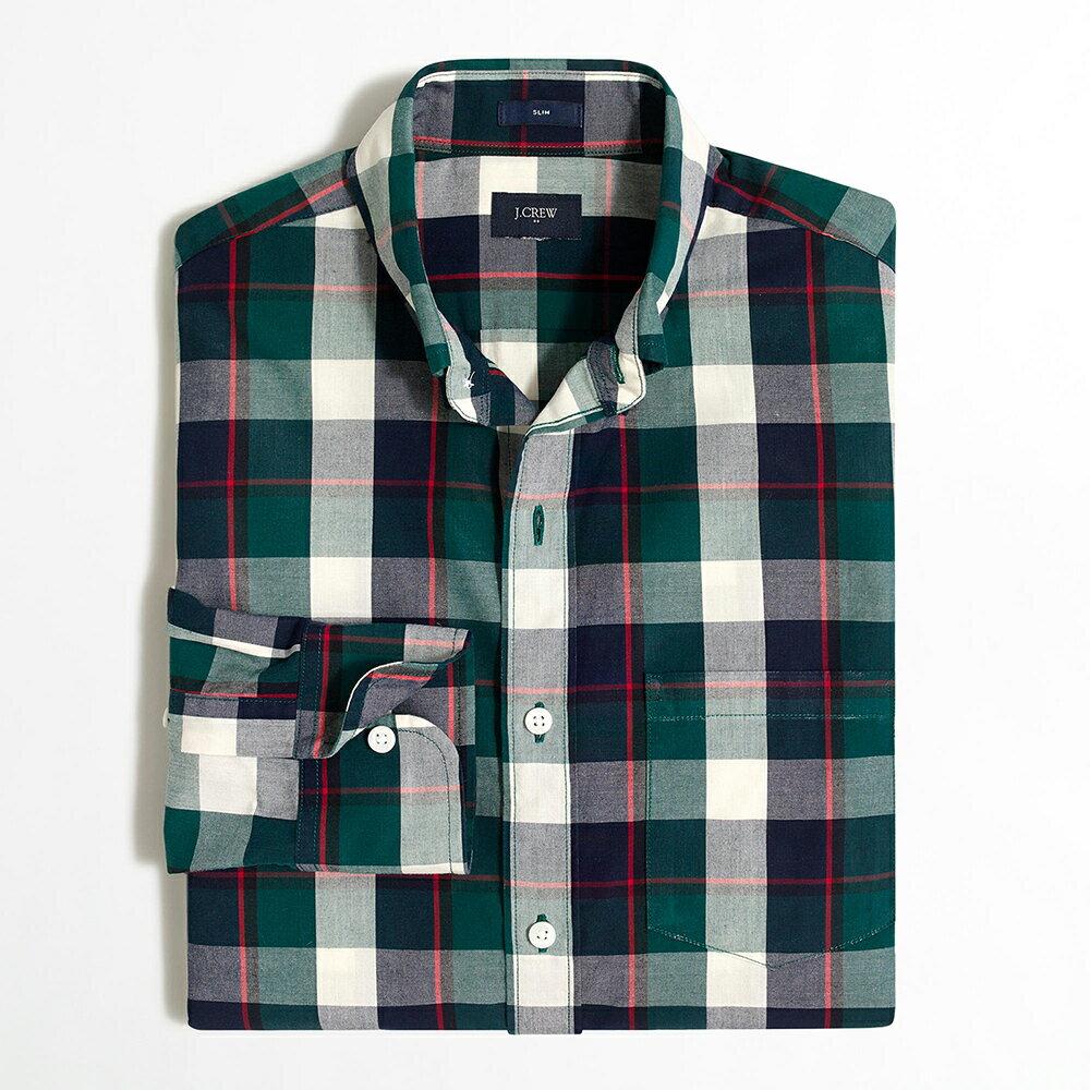 美國百分百【全新真品】J-Crew 襯衫 JC 長袖 上衣 格紋 上班 休閒 深藍 紅色 深綠 XS號 G125