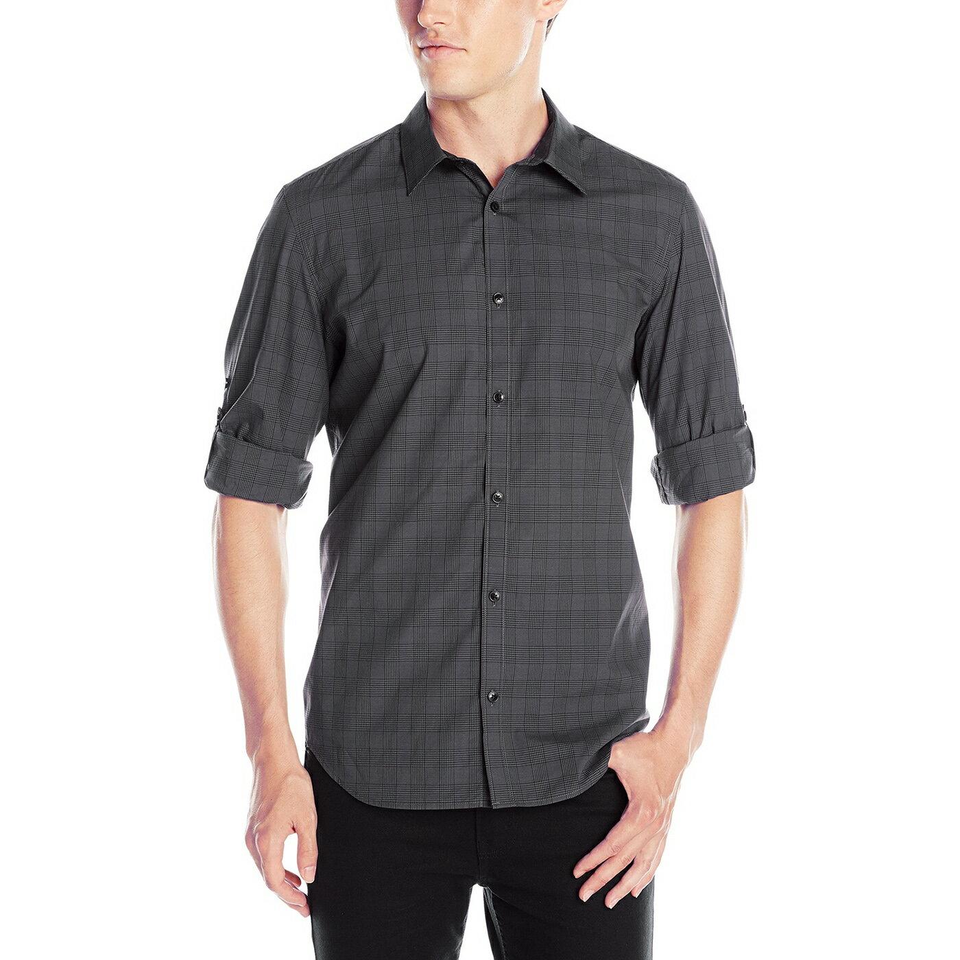 美國百分百【全新真品】Calvin Klein 襯衫 CK 男 上班 長袖 上衣 商務 休閒 格紋 灰黑 S號 G127