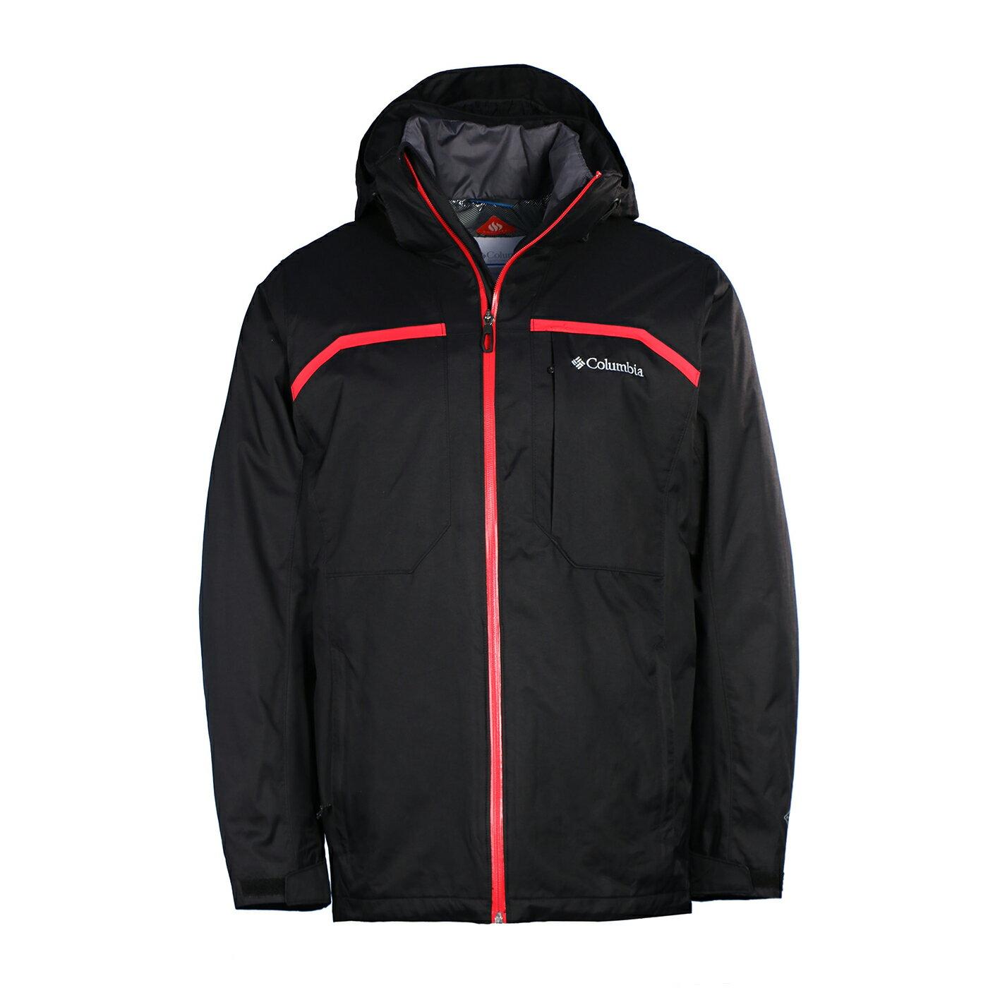 美國百分百【全新真品】Columbia 外套 夾克 哥倫比亞 登山 滑雪 兩件式 發熱 防水 男 黑色 S號 G164