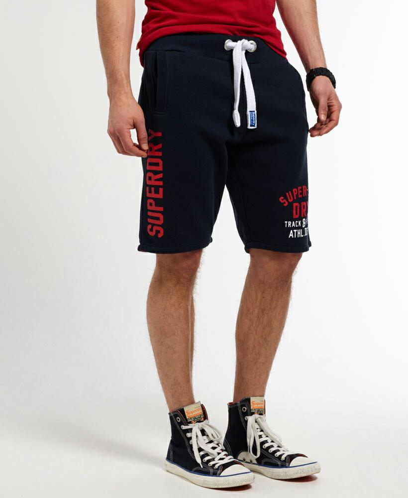 美國百分百【全新真品】Superdry 極度乾燥 短棉褲 短褲 休閒褲 抽繩 運動褲 復古 深藍色 S M號 G192