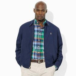 美國百分百【全新真品】Ralph Lauren RL 立領 夾克 風衣 外套 內格紋款 深藍 大尺碼 4XT G196
