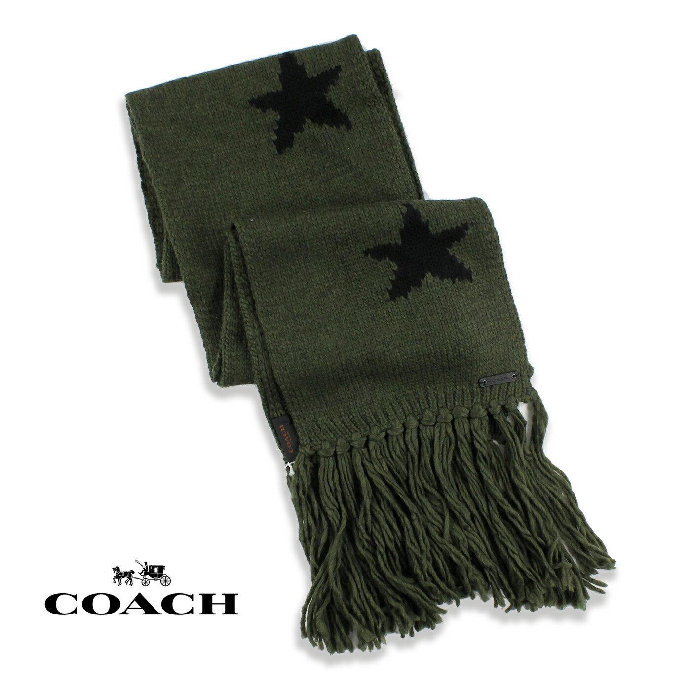 美國百分百【全新真品】COACH 圍巾 針織 配件 披肩 毛線 86021 保暖 羊毛 星星 男 女 軍綠色 G198