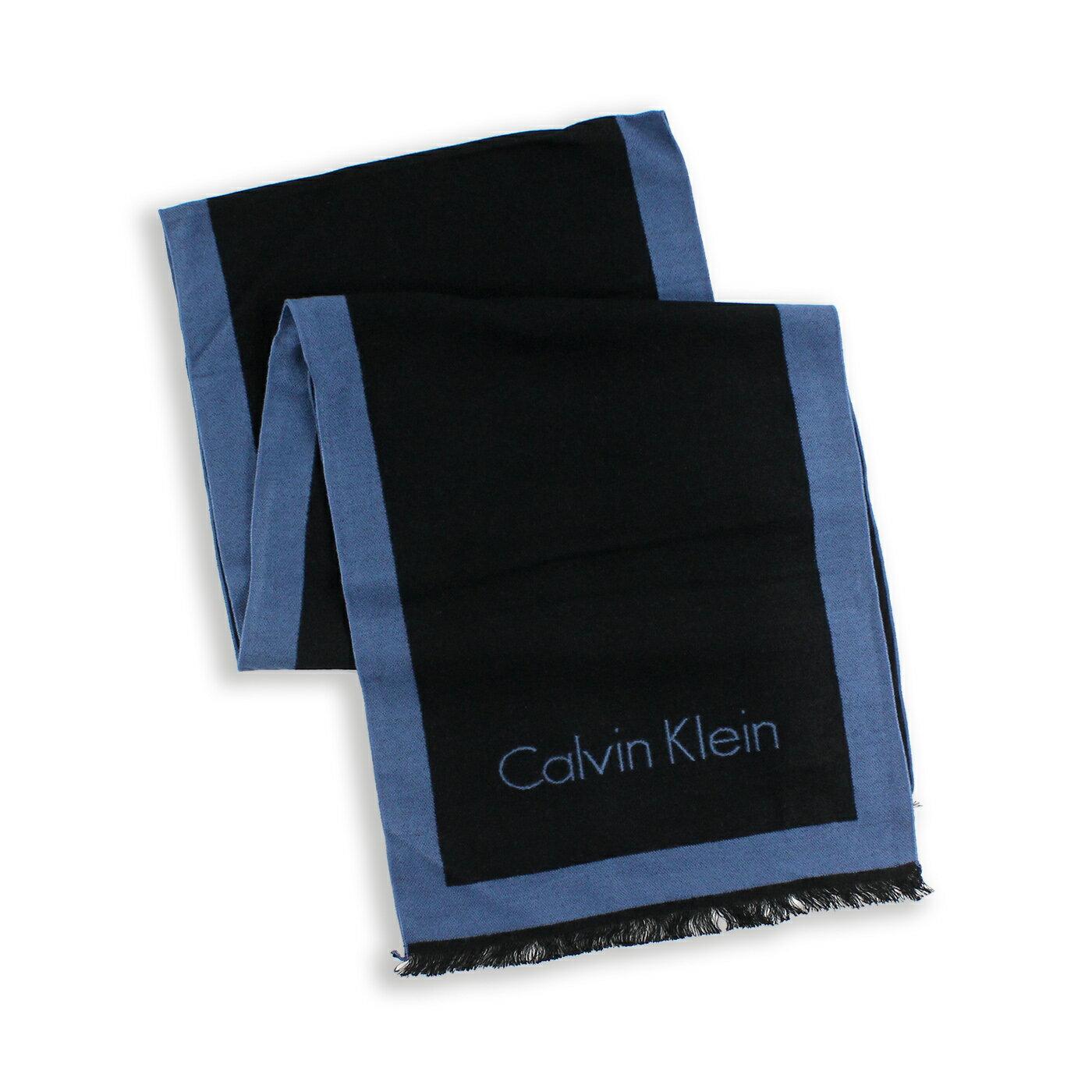 美國百分百【全新真品 】Calvin Klein 圍巾 CK 披肩 披巾 配件 人造絲 男 女 黑色 藍灰 G201