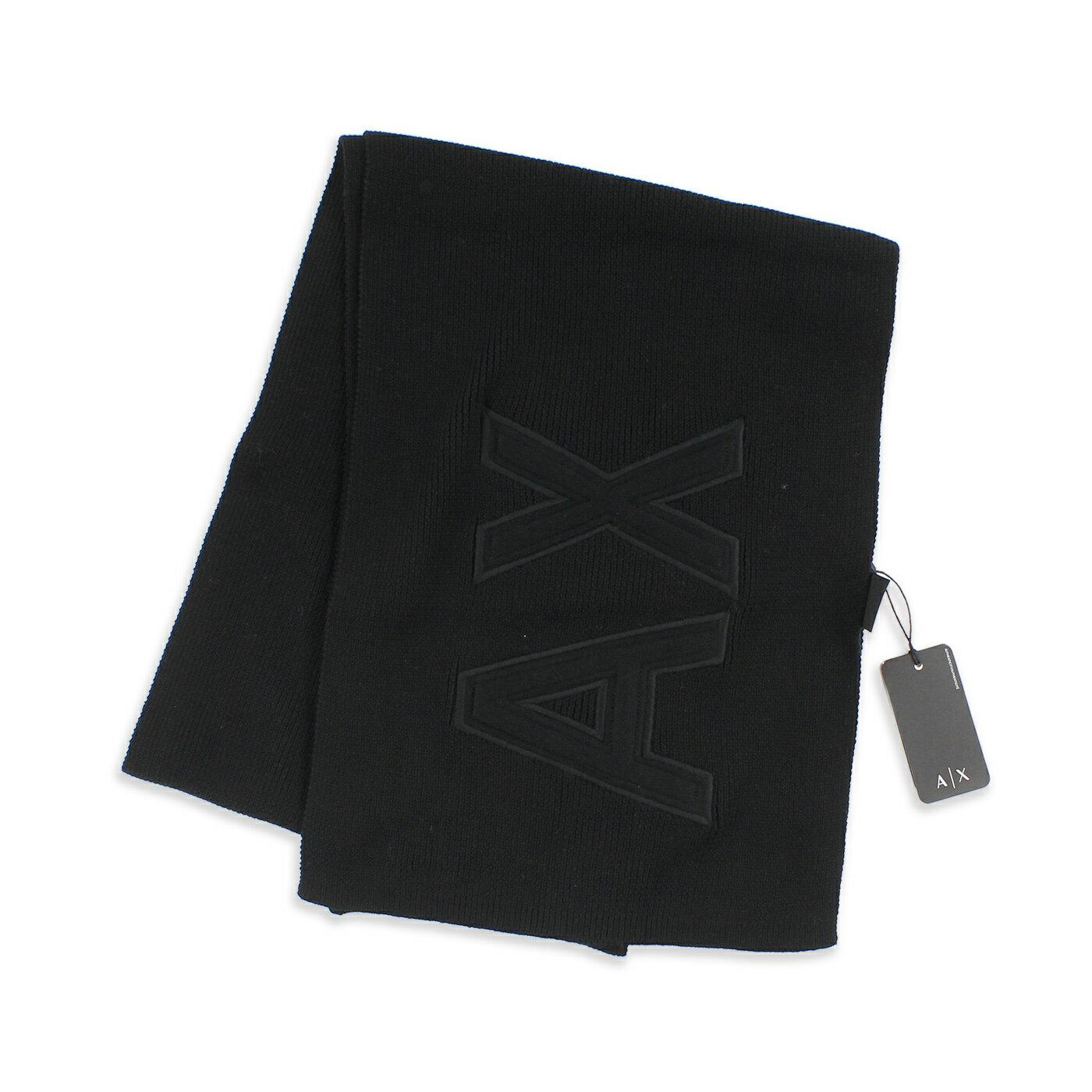 美國百分百【全新真品】Armani Exchange 圍巾 AX 披肩 披巾 配件 logo 針織 純棉 黑色 G203