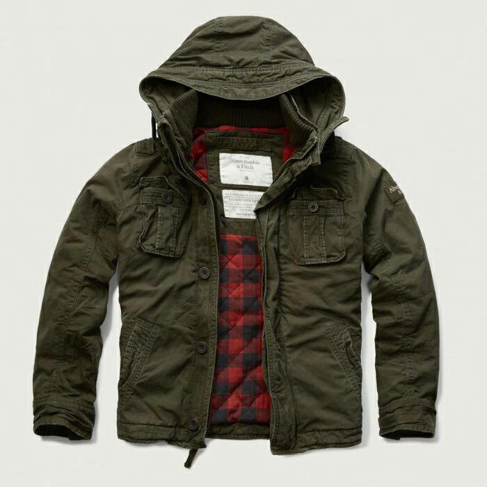 美國百分百【全新真品】Abercrombie & Fitch 外套 AF 軍裝 連帽 夾克 麋鹿 鋪厚棉 軍綠 S M L號 G208