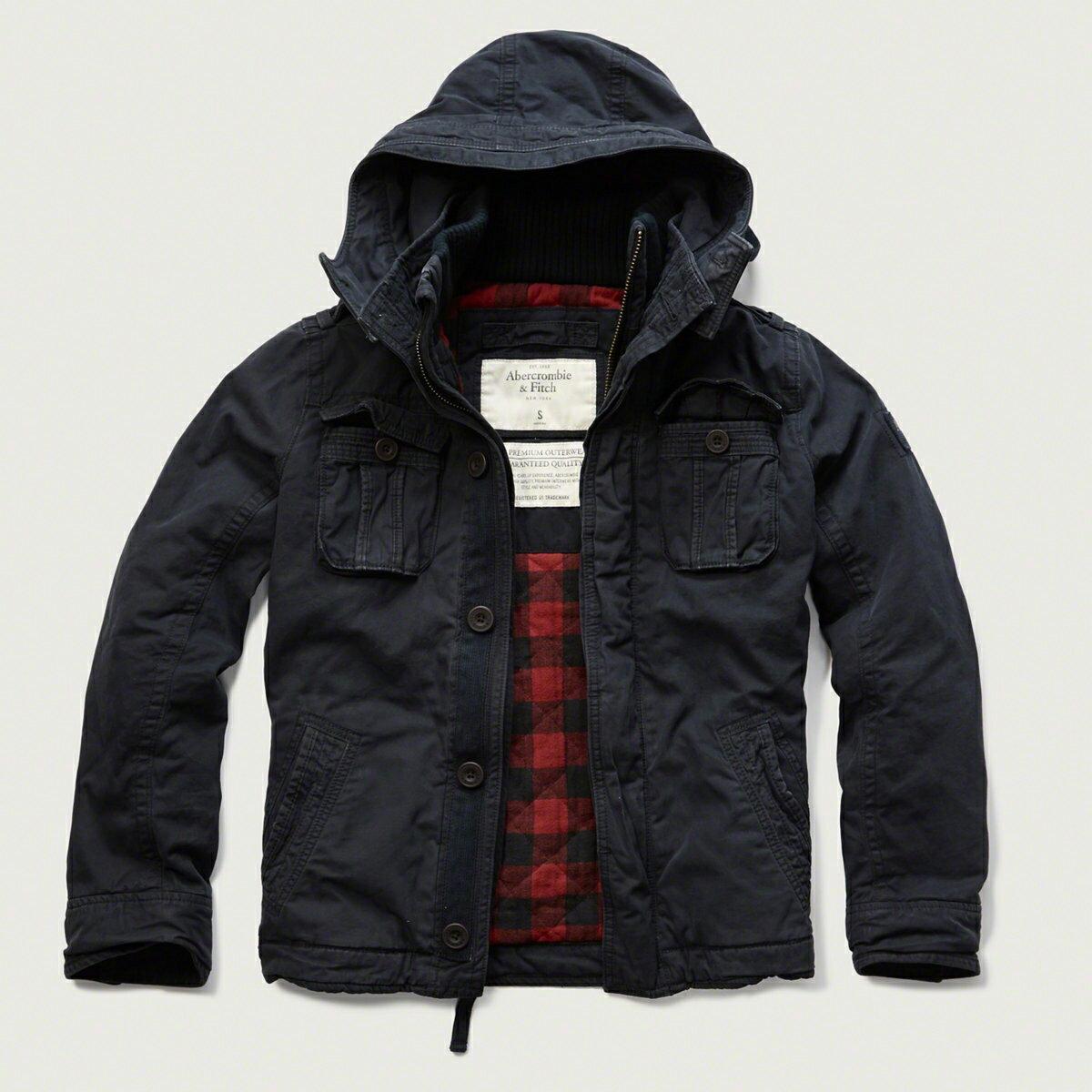 美國百分百【全新真品】Abercrombie & Fitch 外套 AF 軍裝 連帽 夾克 麋鹿 鋪厚棉 深藍 S M號 G208