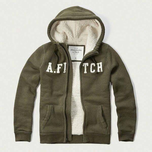 美國百分百【全新真品】Abercrombie & Fitch 外套 AF 連帽 夾克 麋鹿 刷厚毛 橄欖綠 M號 G209