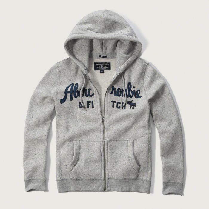 美國百分百【Abercrombie & Fitch】外套 AF 連帽 夾克 帽T 麋鹿 棉質 M L XL 灰色 G244