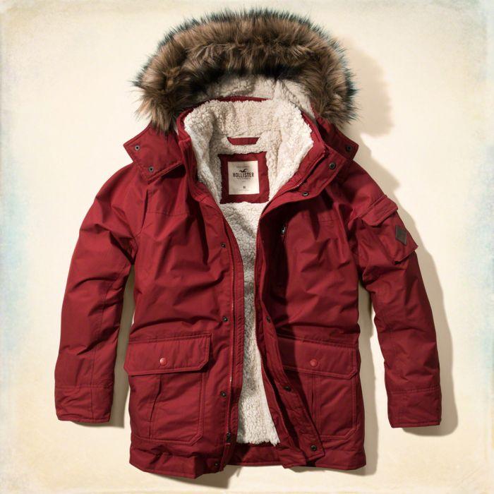美國百分百【Hollister Co.】風衣 外套 大衣 HCO 鋪厚棉 皮草連帽 夾克 海鷗 S、M、L、XL號 暗紅 G250