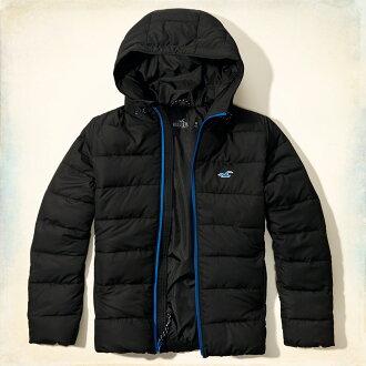 美國百分百【全新真品】Hollister Co. 外套 HCO 中空纖維 保暖 連帽 夾克 海鷗 黑色 M號 G255
