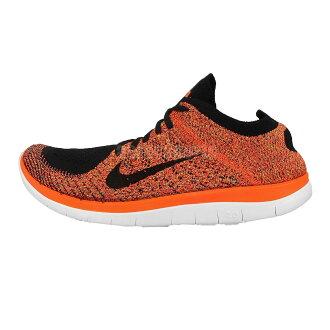 美國百分百【Nike】Free 4.0 Flyknit 耐吉 鞋子 慢跑鞋 運動鞋 球鞋 編織 螢光橘 黑 男款 US 9.5號 G030