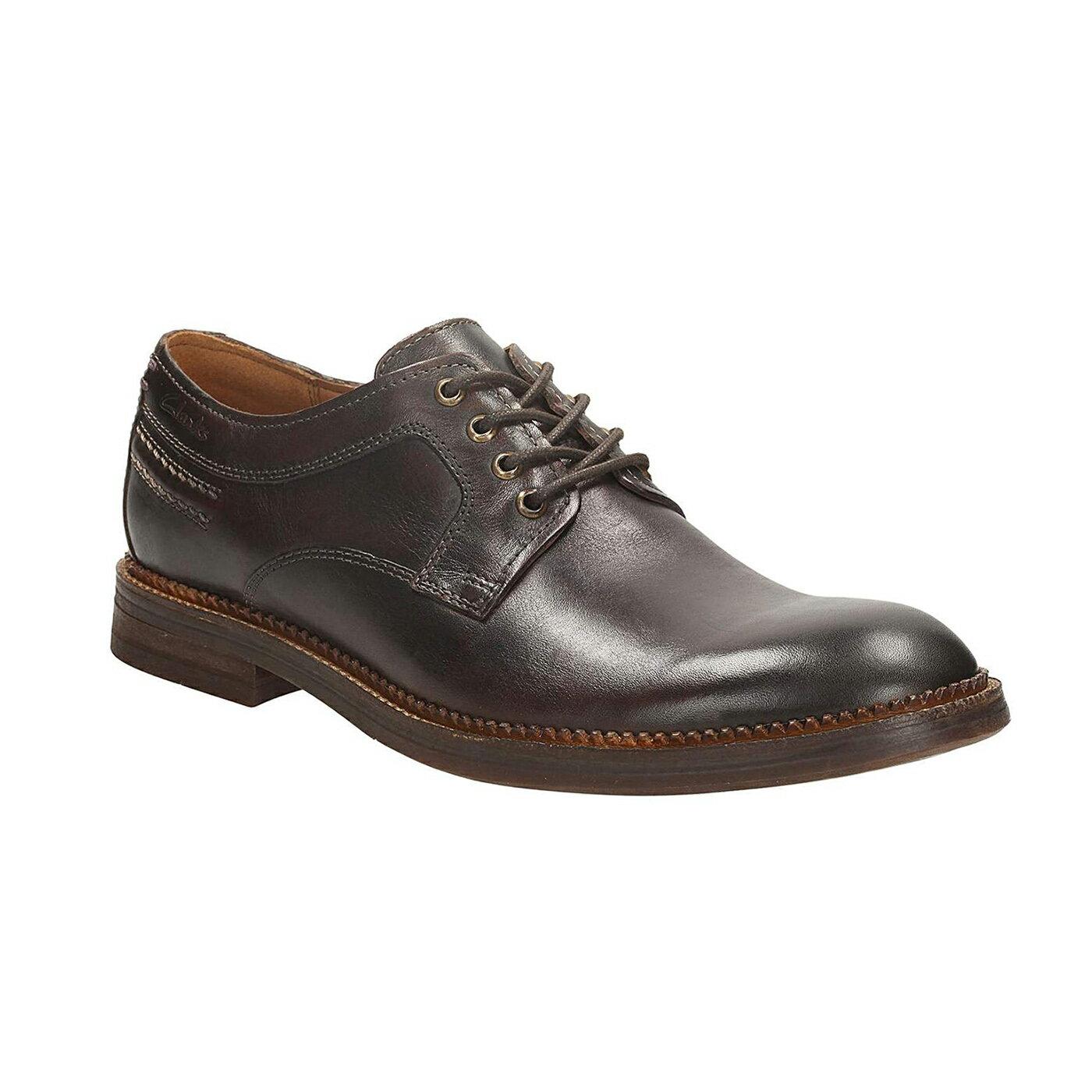 美國百分百【Clarks】Bushwick Dal 皮鞋 休閒 鞋子 沙漠靴 克拉克 英倫 男 深咖啡 8號 G268