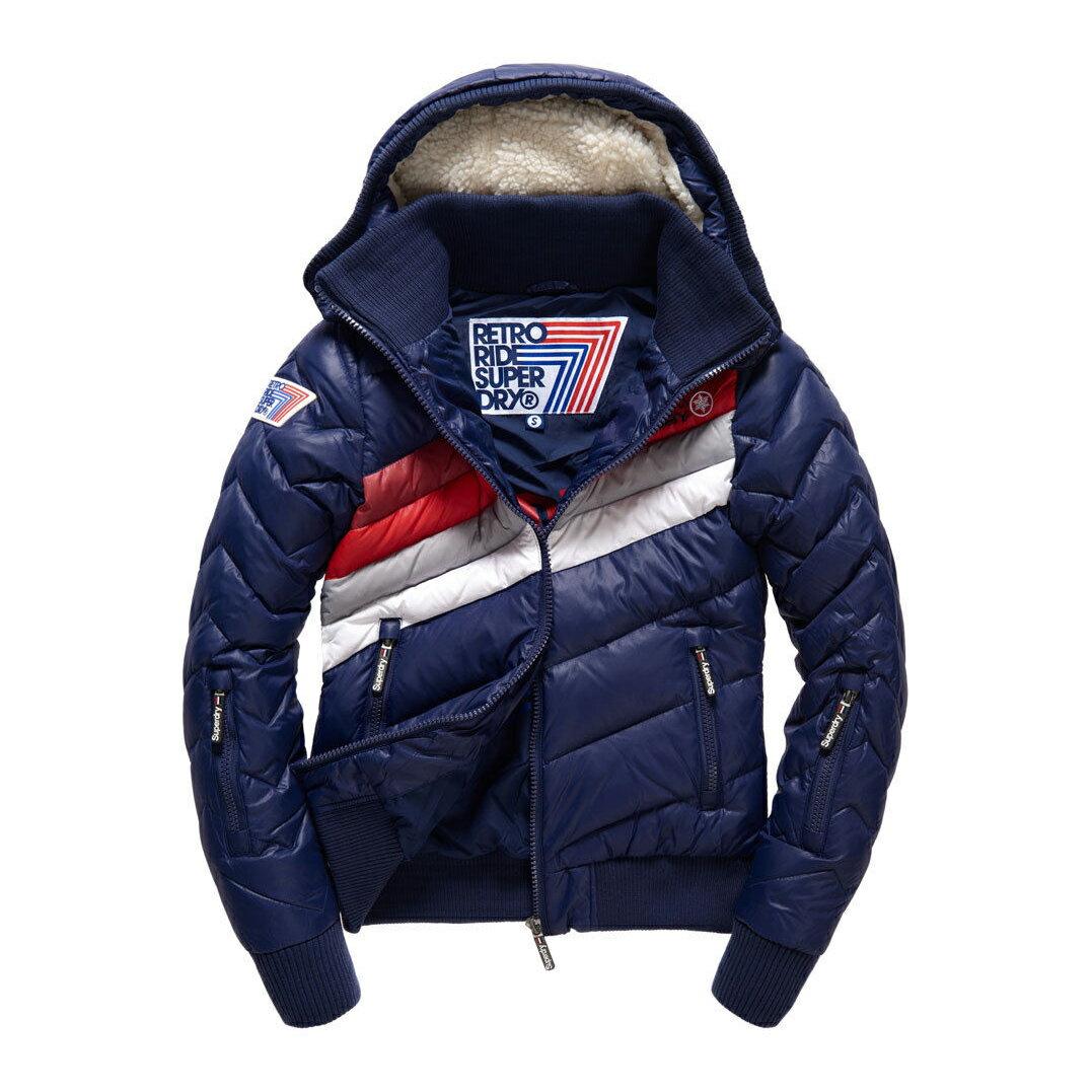 美國百分百【全新真品】Superdry 極度乾燥 羽絨外套 連帽 防風 防潑水 飛行員夾克 深藍 女 S M號 G270