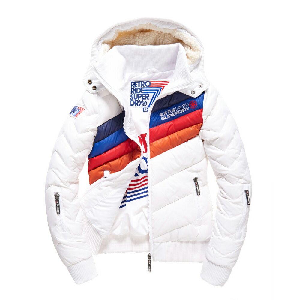 美國百分百【全新真品】Superdry 極度乾燥 羽絨 外套 連帽 防風 防潑水 飛行員夾克 白色 女 S號 G270