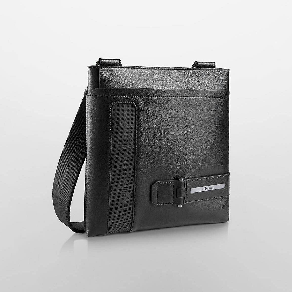 美國百分百【全新真品】Calvin Klein CK 皮質 公事包 肩背包 飛行包 郵差包 側背包 黑色 G272