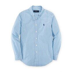 美國百分百【Ralph Lauren】襯衫 RL POLO 小馬 格紋 長袖 上衣 水藍 紫 白格 XS S號 G299