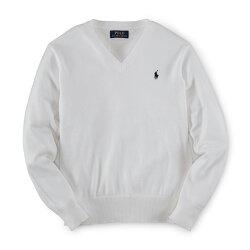 美國百分百【Ralph Lauren】針織衫 RL 線衫 長袖 Polo 小馬 V領 素面 男 白色 XS號 G300