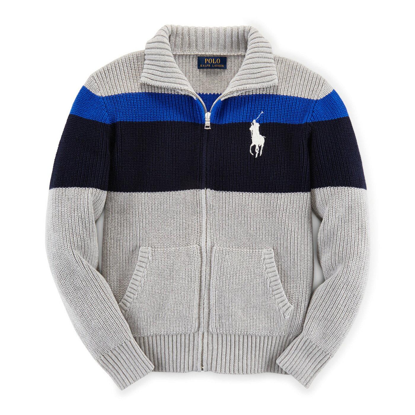 美國百分百【Ralph Lauren】RL polo 針織 立領 外套 大馬 條紋 線衫 深藍 寶藍 灰色 XS S號 G302