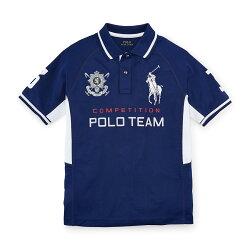 美國百分百【Ralph Lauren】Polo衫 RL 上衣 短袖 馬球 臂章 背號 大馬 深藍色 XS S號 G304