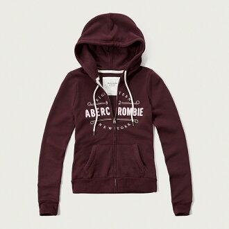美國百分百【Abercrombie & Fitch】連帽 AF 外套 麋鹿 長袖 女 酒紅 XXS XS S號 G312
