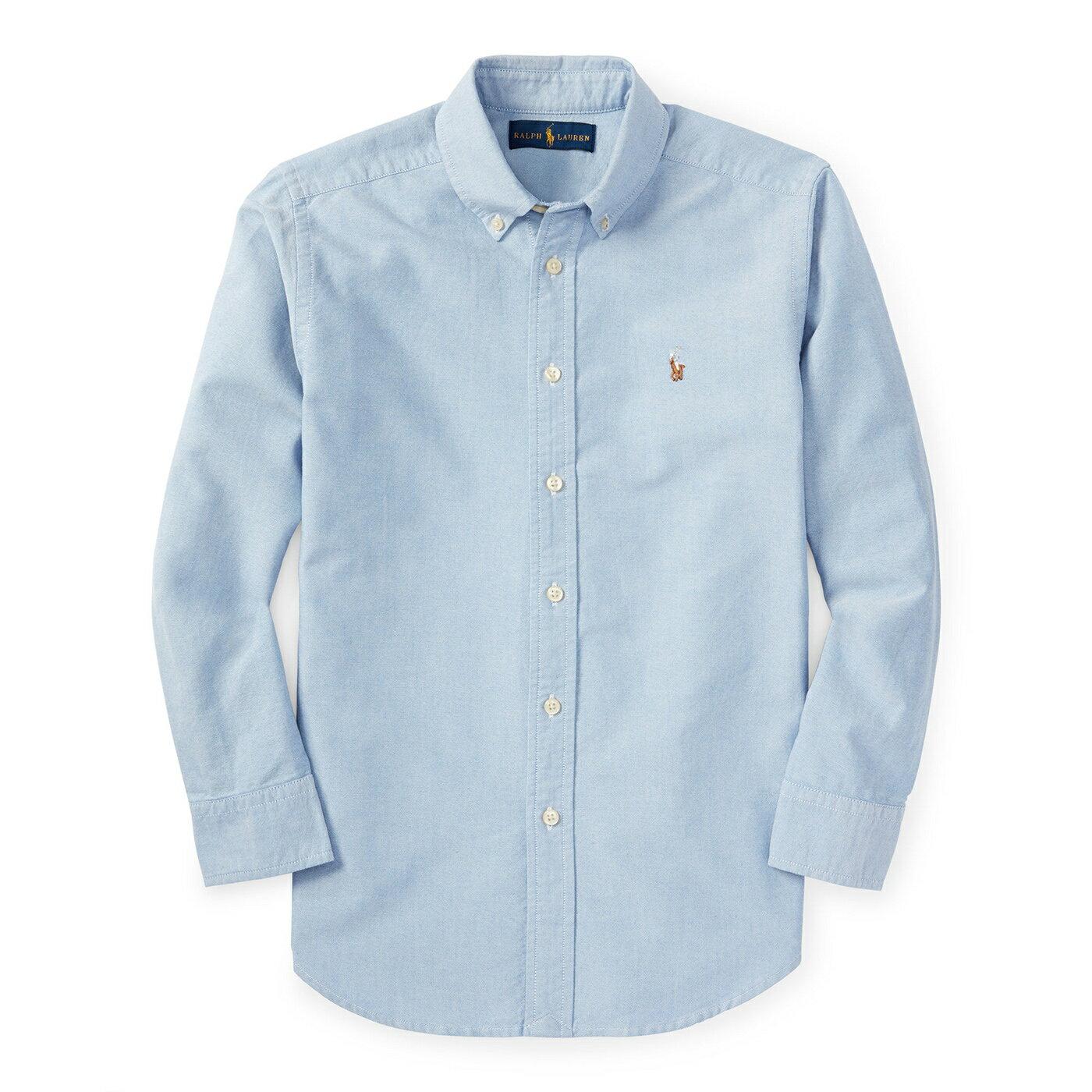 美國百分百【Ralph Lauren】RL 彩馬 小馬 牛津 長袖 襯衫 polo 素面 淡藍色 上衣 男 女 XS、S號 B016