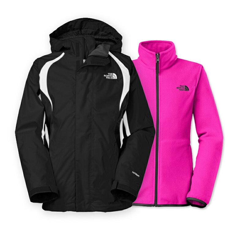 美國百分百【The North Face】防風 連帽 外套 TNF 保暖 夾克 兩件式 北臉 黑色 桃紅 女 XXS XS號 C102