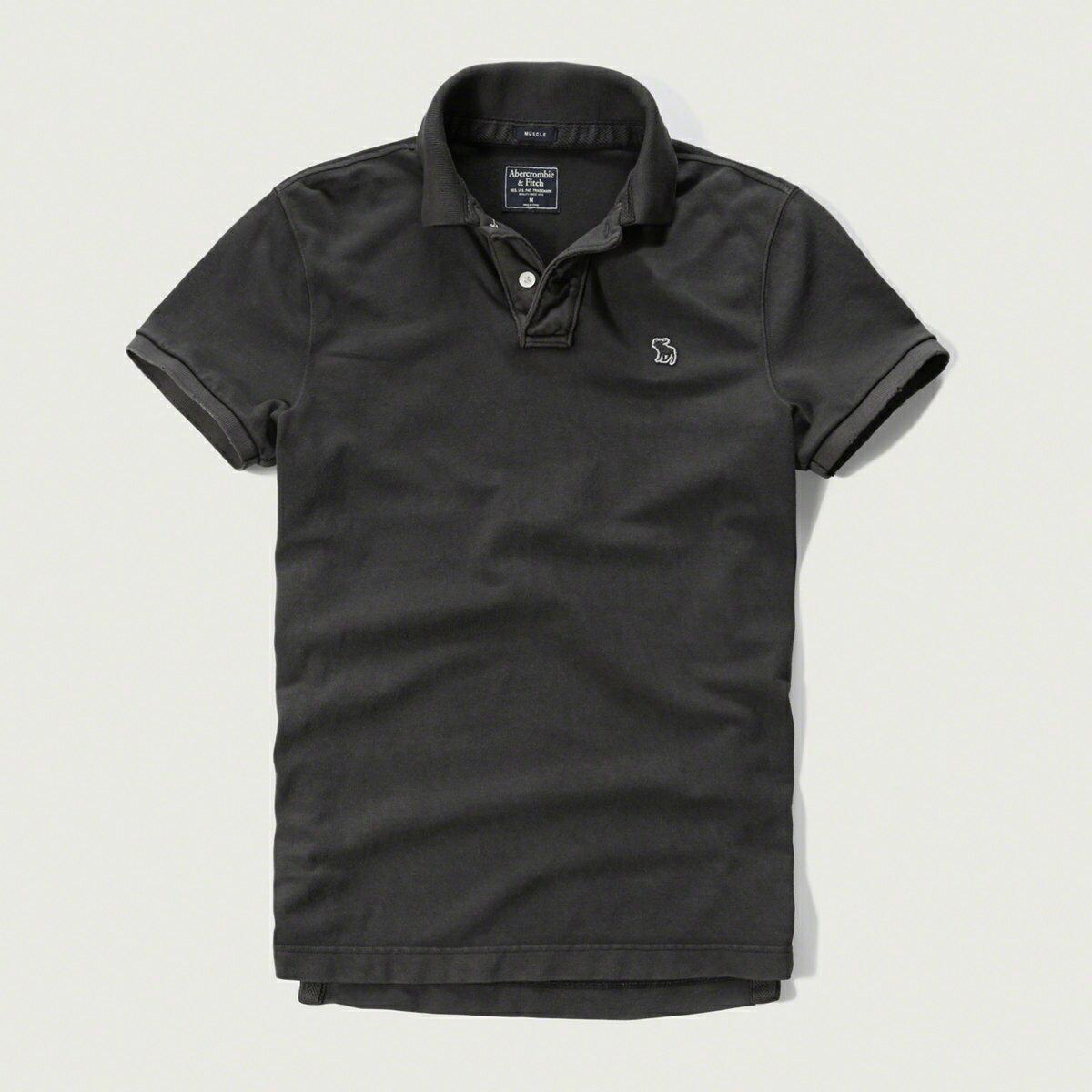美國百分百【Abercrombie & Fitch】Polo衫 AF 短袖 麋鹿 男 素面 洗舊黑 新款 特價 S M L XL號 G352