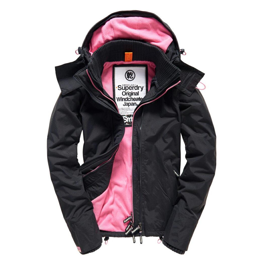 美國百分百【全新真品】Superdry 極度乾燥 風衣 連帽 外套 防風 夾克 刷毛 炭黑 粉紅 女 F855