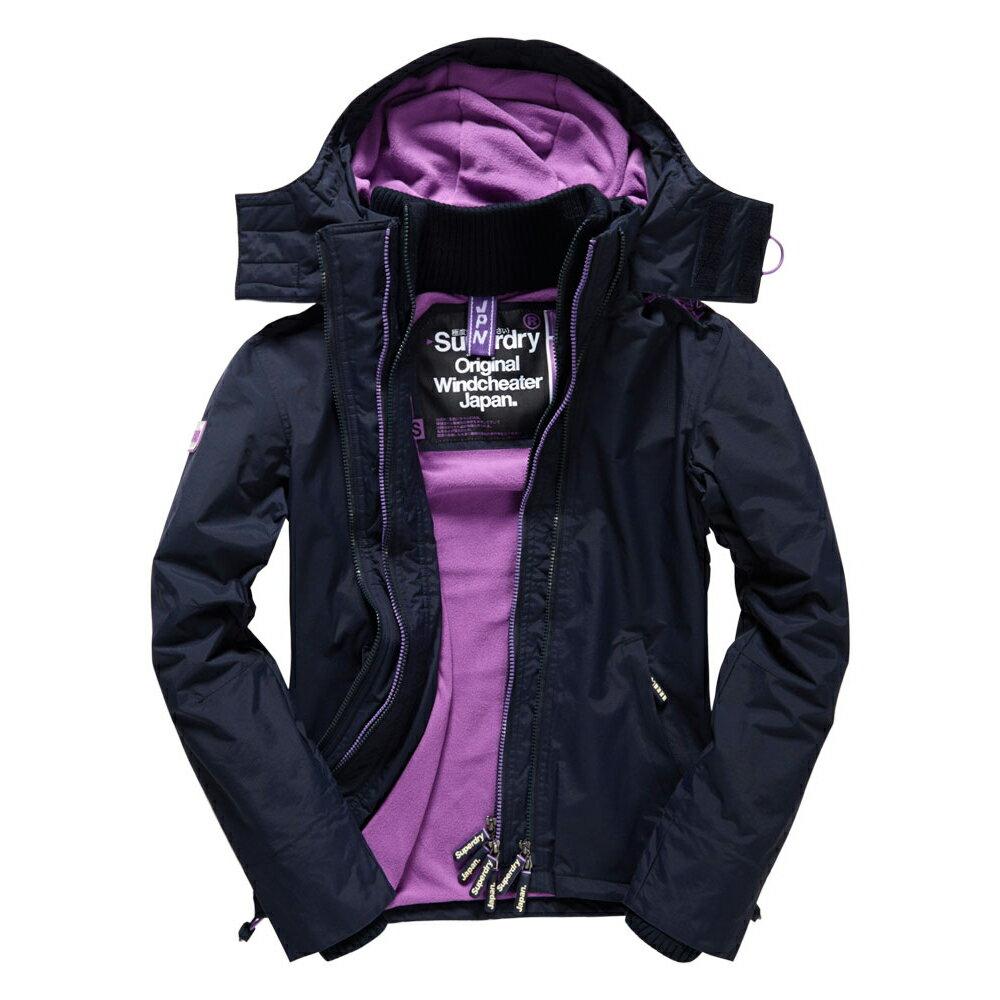 美國百分百【全新真品】Superdry 極度乾燥 風衣 連帽 外套 防風 夾克 刷毛 深藍 紫色 女 F855