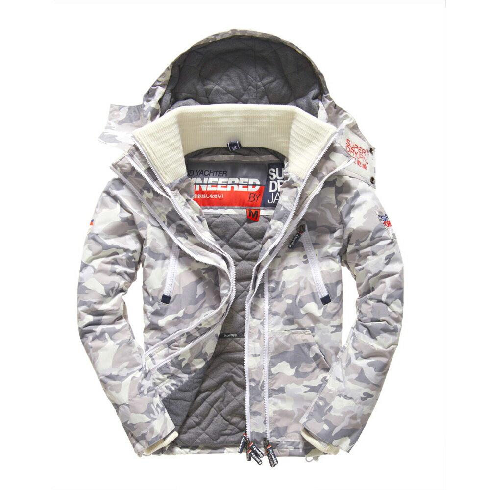 美國百分百【Superdry】極度乾燥 Yachter 風衣 連帽 外套 防風 夾克 刷毛 男款 白色 迷彩 S M L號 F967