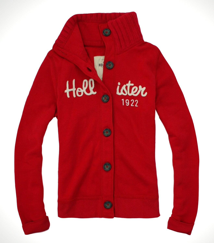 美國百分百【全新真品】Hollister Co HCO 女 立領外套 保暖夾克 針織翻領 溫暖紅 免運 S號