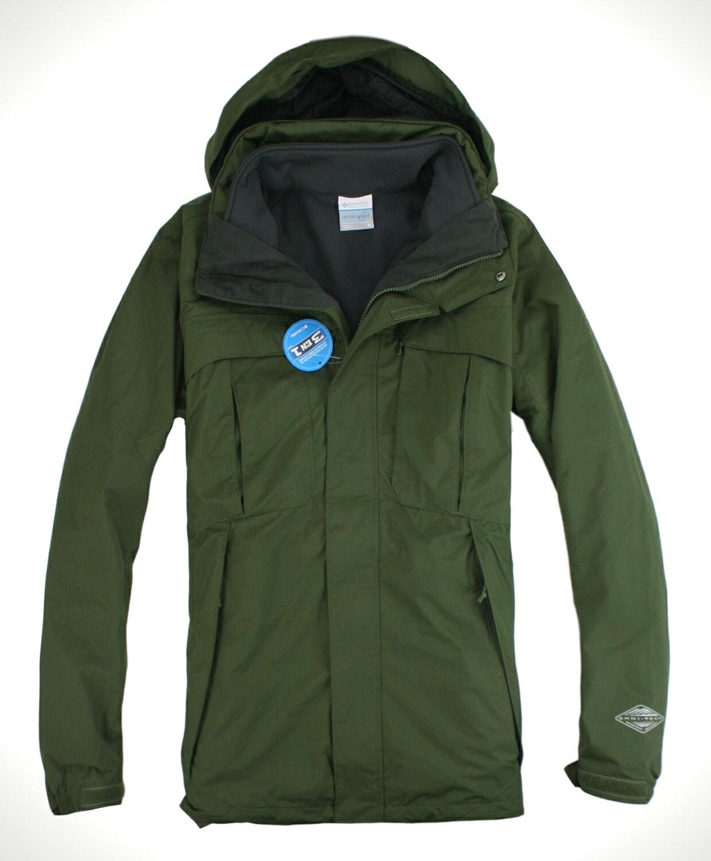 美國百分百【全新真品】Columbia 哥倫比亞 男軍綠 連帽外套 3in1 兩穿 保暖夾克 2way 免運 M