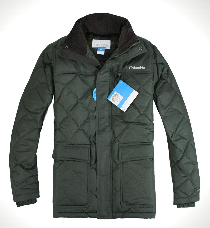 美國百分百【全新真品】Columbia 哥倫比亞 男軍綠 立領外套 羽絨 保暖夾克 抗寒大衣 免運 S