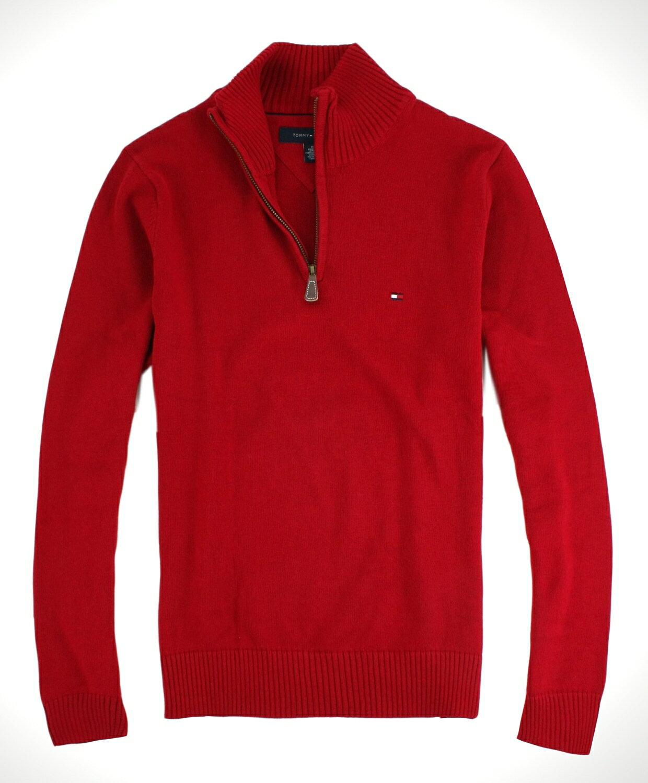 美國百分百【全新真品】Tommy Hilfiger TH 男款 針織衫 立領毛衣 半拉夾克 上衣 紅 免運 M號