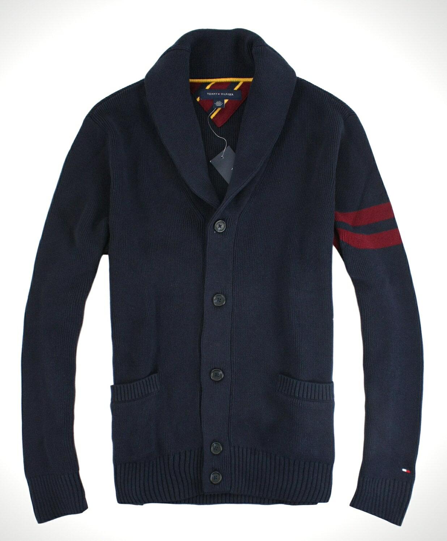 美國百分百【全新真品】Tommy Hilfiger TH 男 深藍針織 毛衣外套 素面翻領 造型袖口 免運 L號