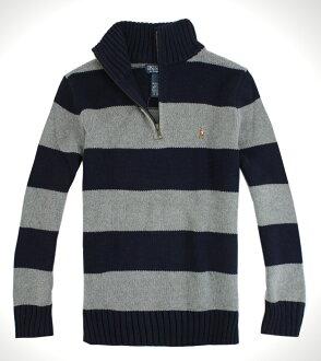 美國百分百【全新真品】Ralph Lauren RL 男女 半拉夾克POLO 毛衣針織衫 彩馬 藍灰條紋 免運 XXS