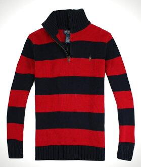 美國百分百【全新真品】Ralph Lauren RL男女 半拉POLO 毛衣針織衫 彩馬 紅藍條紋 免運3XS XS