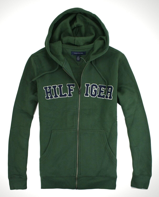 美國百分百【全新真品】Tommy Hilfiger 外套 男 連帽 抽繩 夾克 帽T 質厚 TH綠色 C016