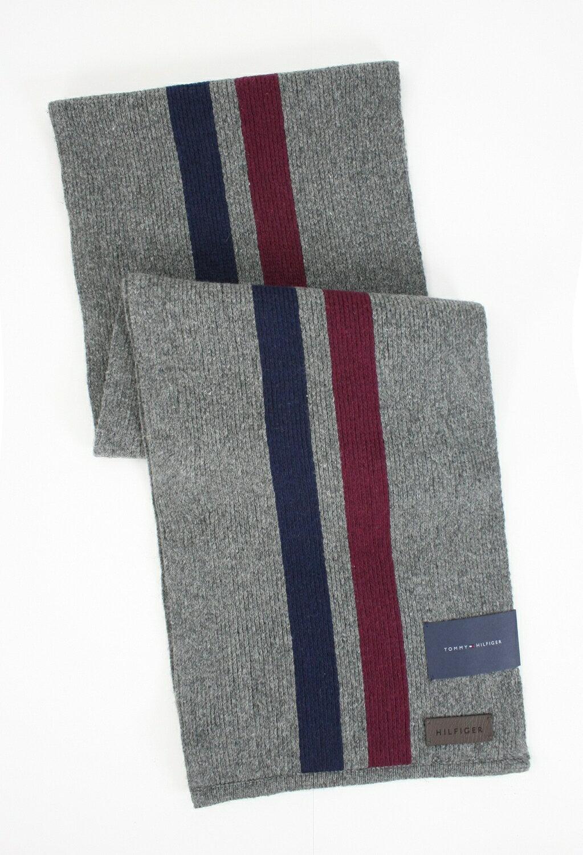 美國百分百【全新真品】Tommy Hilfiger TH圍巾披肩 灰藍紅 條紋 長圍巾 休閒配件 男女 免運