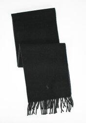 美國百分百【全新真品】Ralph Lauren RL男女 羊毛Italy 黑灰特色 馬 雙面素色 Polo圍巾領巾 B559
