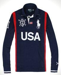 美國百分百【全新真品】Ralph Lauren 長袖 大馬 polo衫深藍 型男RL特色款 USA國旗 免運XS S XL