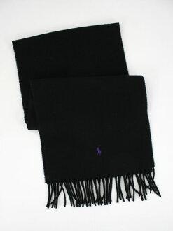 美國百分百【全新真品】Ralph Lauren Polo RL 紫馬 男女 黑 羊毛圍巾 Italy領巾 簡約 禮物免運