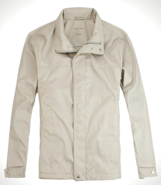 美國百分百【全新真品】Calvin Klein CK 針織衫 香檳金屬色系 風衣 外套 立領夾克 型男 免運 S